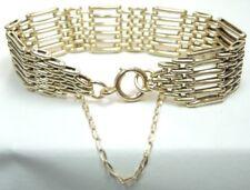 """Victorian Art Deco Antique Gate Bracelet 9K Yellow Gold 71/2"""" x .697"""" 21 Grams"""