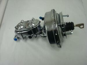 """1967-1970 FORD MUSTANG MERCURY COUGAR 9"""" CHROME BOOSTER MASTER CYLINDER KIT"""