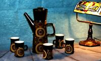 Vintage Denby 1970' Arabesque Stoneware Coffee Set of 6 cups,saucers, coffee pot