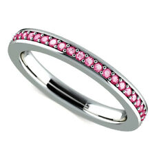 0.62 Ct Round Engagement Pink Sapphire Eternity Ring 14K Solid White Gold Size 5