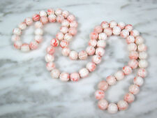 "HUGE VTG CARVED MELON PINK ANGEL SKIN CORAL 11MM BEADED NECKLACE 33"" 122.8 GRAMS"