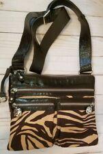 Brighton Crossbody Purse, Brown Zebra print With Patent leather Trim