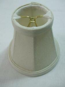 """Chandelier Lamp Wall Sconce clip-on mini shade Ivory color textured fabric 4.5"""""""