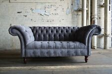 MODERN HANDMADE 2 SEATER SLATE GREY VELVET CHESTERFIELD SOFA COUCH CHAIR