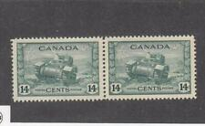 CANADA (MK2871) # 259 VF-MH 14cts 1943 RAM TANK,CANADIAN ARMY PAIR /GREEN CV $24