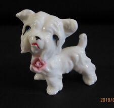 Porcelain Vintage Yorkie Dog Wearing Pink Rose.
