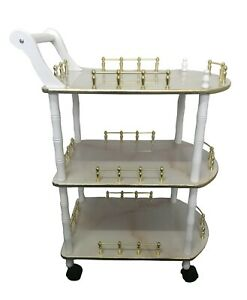 Wooden Drink Bar Trolley Serving Cart White Lacquer Finish 3 Tier Storage