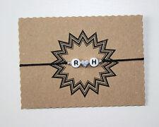 2 Buchstaben Weiß mit Herz Armband Freundschaftsarmband Wunschbuchstaben 25cm