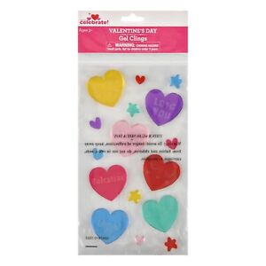 Valentine's Day colorful hearts Window Gel Clings emoji classroom decor party