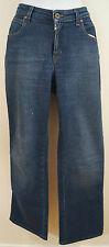 AJ ARMANI Blue Cotton Stretch Silver Studded Branded Rear Straight Leg Jeans 29