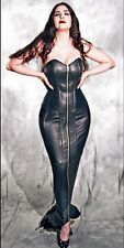 Plus Size steel boned Genuine Leather Corset Hobble Dress Elvira Bdsm Mistress