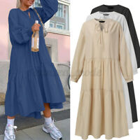 Women Long Sleeve Oversized Casual Loose Tiered Layered Solid Kaftan Baggy Dress