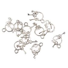 10pcs Keychain Ring Beads Tibetan Silver Charms Pendant DIY Bracelet 25*12mm