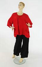 Damen-Shirts mit Rundhals ohne Muster aus Leinen