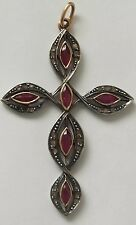 Antique Ruby and Diamond Cross Yellow Gold  Pendant