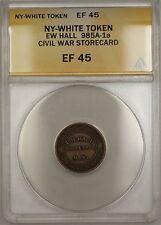 Civil War NY-Whitehall EW Hall Storecard Token 985A-1a ANACS EF-45