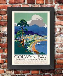 TX284 Vintage Colwyn Bay Wales LMS Railway British Framed Travel Poster A3/A4