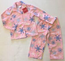 NWT Gymboree Sleepwear 3 3T Pink & Blue Snowflake Fleece Button Down Pajamas
