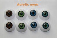 4 Pair 24mm Acrylic Eyes Half Round Doll Eyes for DIY Kits BJD Doll Reborn Doll