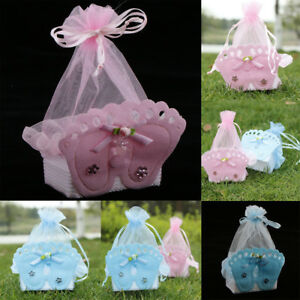 12pcs Girl Boy Baby Shower Candy Box Bags Favors Baby Footprint Sweets Gift Bags