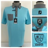 NWT FootJoy Mens L Athletic Fit Wicking Stillwater Button Down Jacquard Polo