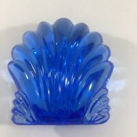 Waterford Crystal Sea Shell Hand Cooler Blue Scallop Clam Signed Paperweight