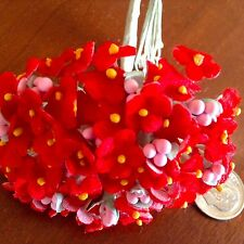 Vintage Millinery Flowers Forget Me Not Red Velvet for Hat Doll + Hair Ginny Rfl