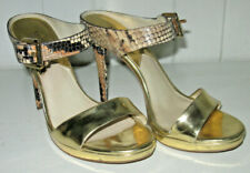 MICHAEL KORS Women's Platform Stiletto Gold Snakeskin Mule Shoe Sz 7.5 M