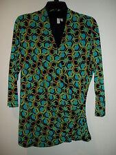 MADISON Modern Geometric Shirt in Black, Green, Turquoise & Neutral, Ladies XL