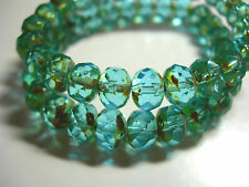 25 8x6mm Aqua Picasso Czech Fire polished Rondelle beads