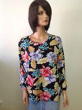 Sag Harbor Cotton Knit Top Floral Pattern Beaded Size Xl Designer Fashion