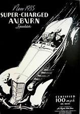 1935 851 1936 852 Auburn Boattail Speedster Art Print Poster EL Cord Art Deco