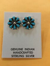 Native American Zuni Turquoise Cluster Clip On Earrings Navajo Wow Very Cute #1