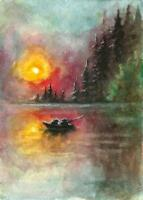 ACEO Mountain sunset boat fishing painting original watercolor art card