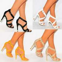 STRAPPY SANDALS CRISS CROSS ANKLE STRAP HIGH HEELS SHOES PEEP TOES SIZE 3 4 5 6