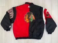VINTAGE 90s CHICAGO BLACKHAWKS JACKET NHL HOCKEY BOMBER STARTER MEN'S SIZE L