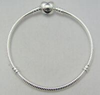 "New Authentic Pandora 925 Sterling Silver Heart Clasp Tennis Bracelet 21cm 8.3"""