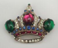 CORO STERLING SILVER 1947 ADOLPH KATZ CROWN BROOCH PIN SIGNED