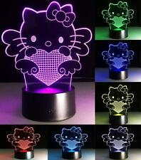 7Color 3D LED illusion Hello Kitty Night Light Touch Switch Table Desk Lamp B196