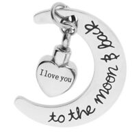 Heart Moon Cremation Urn Pendant I Love You For Ash Holder Memorial Keepsake