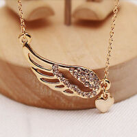 Women Girl Pretty Crystal Angel Wings Gold Love Heart Pendant Chain Necklace
