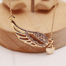 Fashion Nice Gold Angel Wings Love Heart Charm Pendant Chain Necklace jewelry