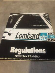 1975 LOMBARD RAC RALLY OF GREAT BRITAIN REGULATIONS  EX JIM PORTER
