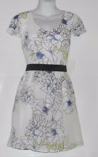 Mac Jac Junior Fit & Flare V-Neck Chiffon Dress White Medium (M) NWT