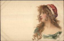 Beautiful Woman Long Hair & Red Hat & Lips c1905 Postcard