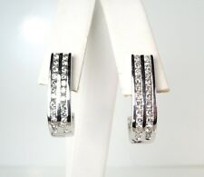 Diamond .90ct 14kt White Gold Half Hoop Earrings * GAL Appraisal