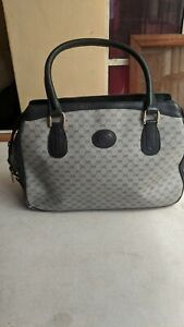 GUCCI Micro GG Navy Blue Gray 2-Way Satchel Bag