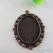 50667 Red Copper Alloy Lace Oval Tray Setting Pendant Charms Finding Craft 4pcs