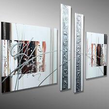 Original  Malerei Bilder Wandbild KUNST XL Acrylbild abstrakt MICO 170x80 Silber