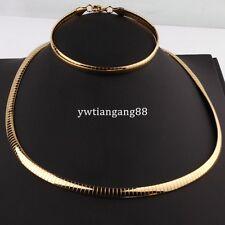Yellow Gold Stainless Steel Men Women's Bracelet Choker Necklace New Jewelry Set